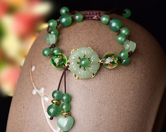Dainty Natural Green Jade Bracelet w/ Floral Pendant for Women, Vintage Woven Chain Style Lucky Healing Jade Bracelet for Ladies Gift