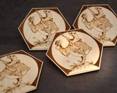 Wooden hex fantasy Wizards bar and game room coasters - PEACE - raw or finished