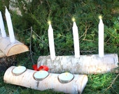 Birch Yule log Christmas Candle Holder - Comes with candles