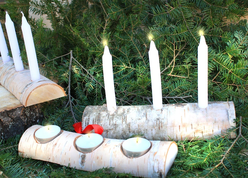 Birch Yule log Christmas Candle Holder  With candles image 1
