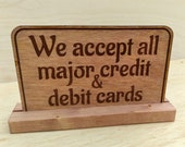 Wood Check Out Credit or Cash Sign