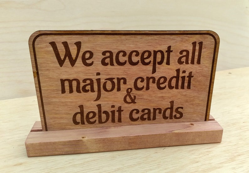 Wood Check Out Credit or Cash Sign image 1