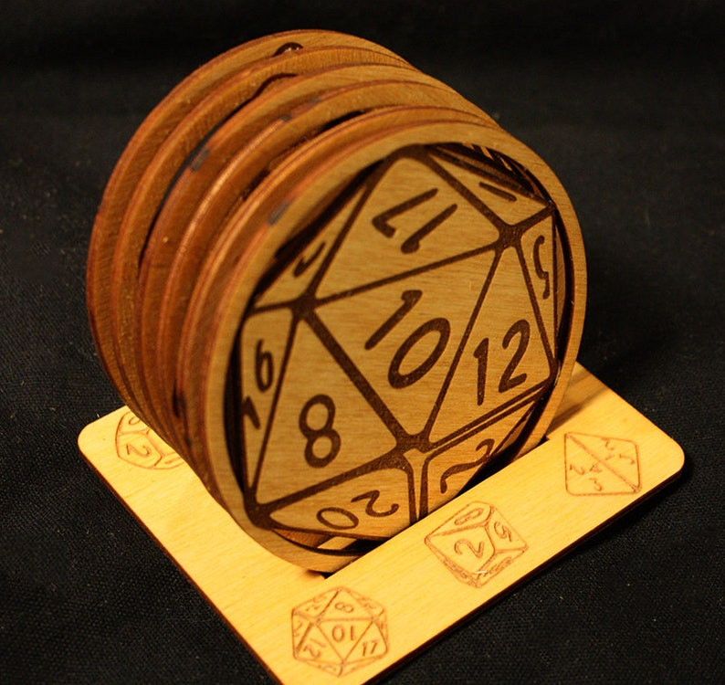 RPG Game Dice Coaster Set with Stand image 0