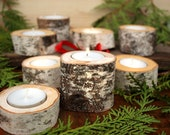 Birch log candle holder - Comes with tea light candle