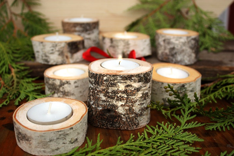 Birch log candle holder  Comes with tea light candle image 0