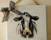 B W Cow Face Wood Plaque, Cow Wall Hanging, Farmhouse Cow Decor, Farmhouse Kitchen Decor Cow Picture, Cow Kitchen Wall Art, Cow Face Print