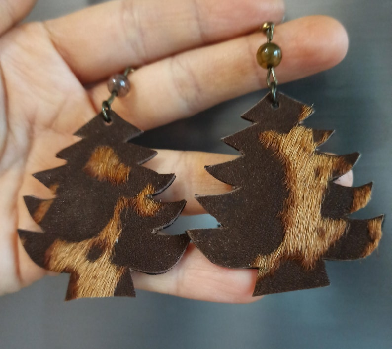 rectangular leather square pine tree boot handmade earrings. angel