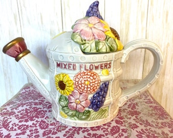 Figural Teapot Fitz /& Floyd Omnibus Watering Can and Flowers Figural Teapot Omnibus Floral Teapot Full Size; Vintage Fitz and Floyd