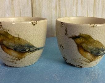 Pair of Creative Co-Op Tim Coffey Bird Decorative Cups Stoneware