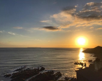 Lundy Island at Sunset, Devon, Woolacombe, Seaside, Ocean, Coast, England, Home Decor, Photo Art, Photography Canvas, Print, Various Sizes