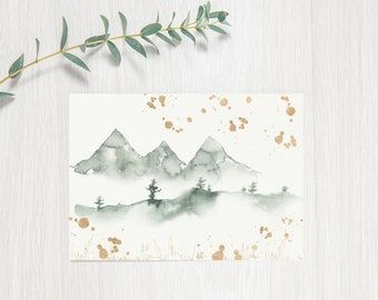 Watercolour Mountains Card - Blank Card, Thinking of you Card, Thank you Card, Birthday Card, Painting Card | Green and Gold