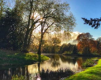 Autumnal Lake, Autumn, Cotswolds, England, Countryside, Home Decor, Photo Art, Photography Canvas, Print, Various Sizes