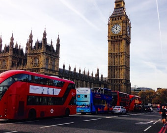 Westminister Bridge, London, Big Ben, Red Bus, Houses of Parliment, England, Home Decor, Photo Art, Photography Canvas, Print, Various Sizes