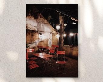Romantic Cafe at Night, Switzerland, Lanterns, Kitchen Print, Home Decor, Photo Art, Photography Canvas, Print, Various Sizes