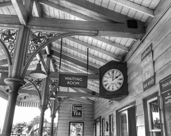 Old Train Station, Clock, Old Fashioned, Vintage, England, Black and White, Home Decor, Photo Art, Photography Canvas, Print, Various Sizes