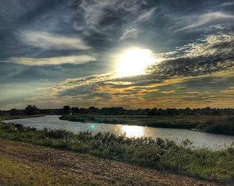 Sunset Over the River, Fens, River Art, Sunset Poster, Countryside Image, Home Decor, Photo Art, Photography Canvas, Print, Various Sizes