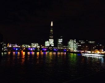 London Skyline at Night, The Shard, Lights, Thames, London Bridge, England, Home Decor, Photo Art, Photography Canvas, Print, Various Sizes