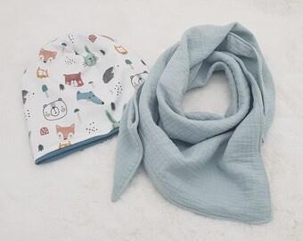 Beanie wildlife/ mint/ muslin towel/ spring hat/ hare/ hedgehog