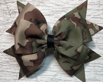 Camouflage Pinwheel Hair Bow 3
