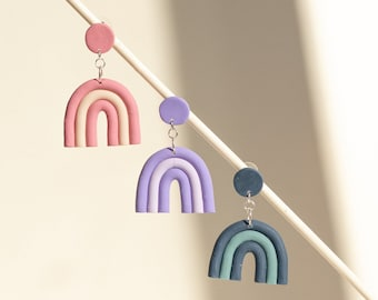 Rainbow Statement Polymer Clay Earrings | Dangle earrings | Handmade Polymer Clay Earrings