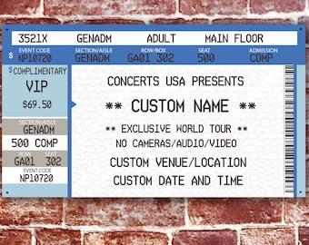 Custom music ticket, concert ticket aluminum wall art