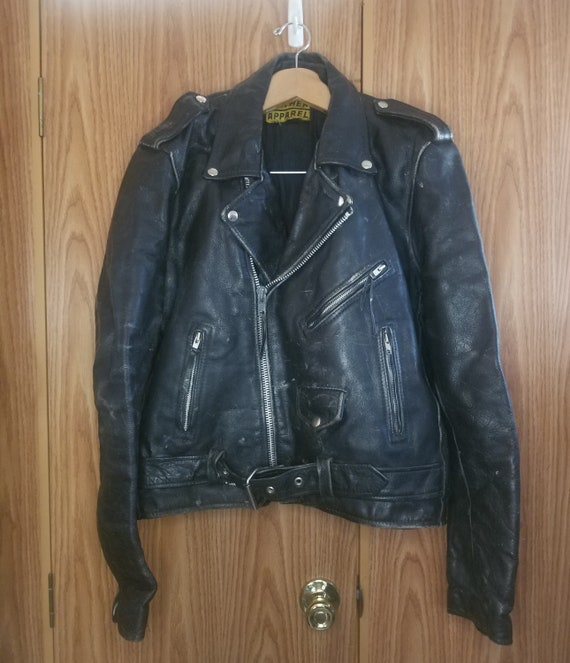 Vintage ProTech Leather Biker Motorcycle Jacket La