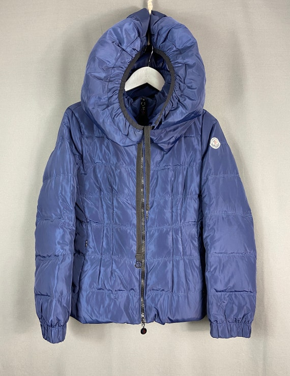 Blue down full zip jacket with hood and belt