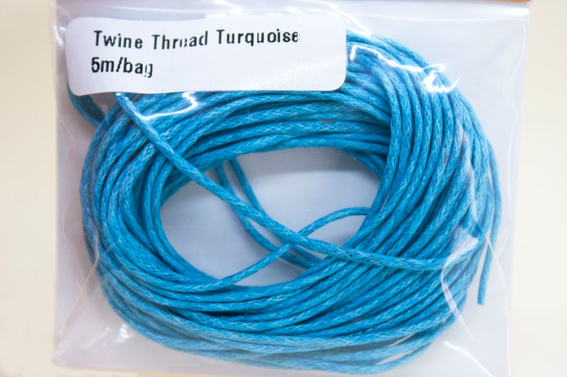fine 1mm twine cord craft supplies in 5 meter bags TWINE THREAD in turquoise or red colours for jewellery stringing or other craft projects