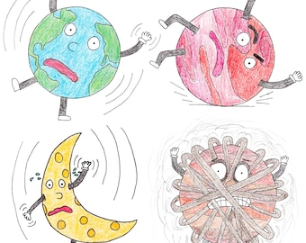 Center of Gravity Series - Earth, Moon, Saturn, and Mars - Hand-Drawn Vinyl Stickers or Premium-Quality Doodle Art Prints!