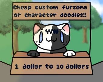 Cheap custom fursona or character art doodles!