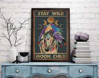 Stay Wild Moon Child Unicorn Poster, Animals Poster, Gift For Animals Lovers, Home Decorations