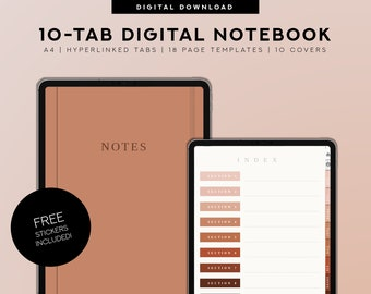 10 Tab Digital Notebook, Hyperlinked PDF for School Ipad Goodnotes Notability, Minimalist digital planner, ruled, grid, dotted, cornell