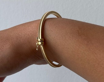 Solid 10K Gold Bangle Bracelet, Yellow Gold Hinged Bangle, Real 10KT Gold Bangle, 4 Sided Bangle Bracelet, Unisex Gold Bangle, 10K Bracelet