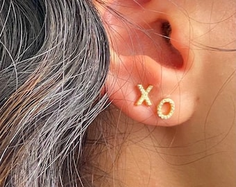 Gold XO Earrings Stud Tiny Letter Stud Earring 10K Solid Gold Earrings Simple Dainty Everyday Earring Gift for Her Girlfriend Gift