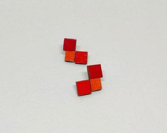 Colourful Stud Earrings - Triple Square (Red/Orange)