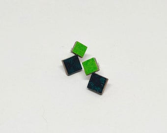 Colourful Stud Earrings - Two Tone (Spring Green/Green Black)