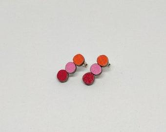 Colourful Stud Earings - Triple Circle (Orange/Pink/Red)