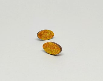Colourful Srud Earrings - Oval (Yellow/Gold)