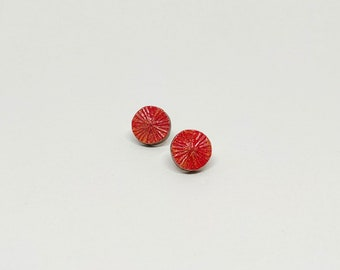 Colourful Stud Earring - Circle (Red/Gold)