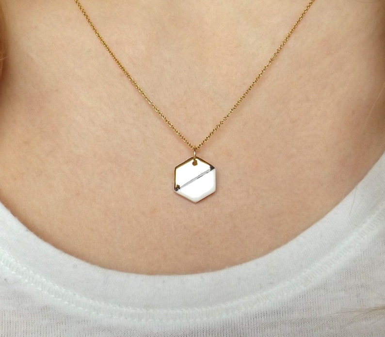 Hexagon necklace porcelain and gold 14k filled gold chain image 0