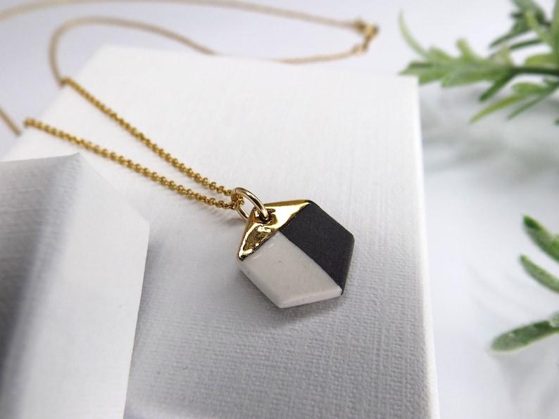 Ceramic hexagon necklace handmade porcelain necklace black & image 0