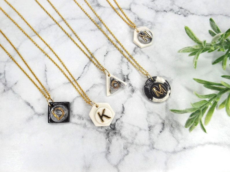 Personalised necklace porcelain and gold 14k filled gold image 0