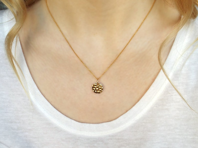 Gold Moon necklace Hand made porcelain necklace minimalist image 0
