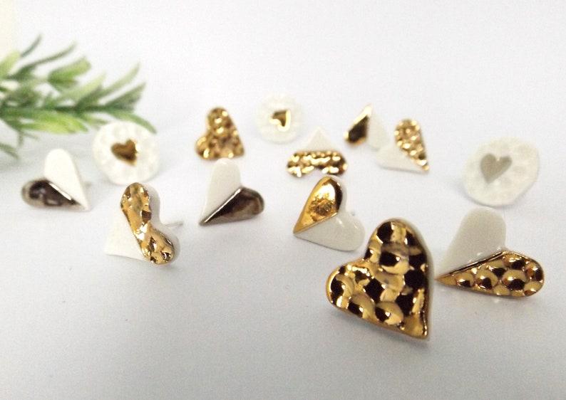 Heart earrings handmade porcelain earrings sterling silver image 0