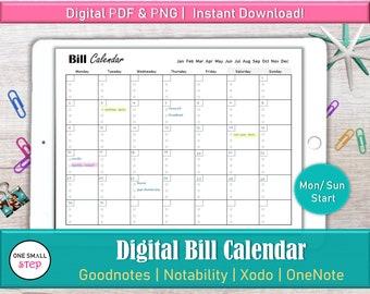 Digital Bill Tracker Ipad Budget Planner, Goodnotes Monthly Bill Tracker Calendar, Bill Payment Calendar, Bill Due Personal Finance Calendar