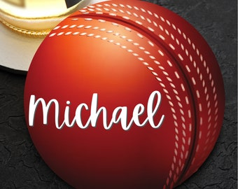 Cricket Ball personalised with a name wooden coaster