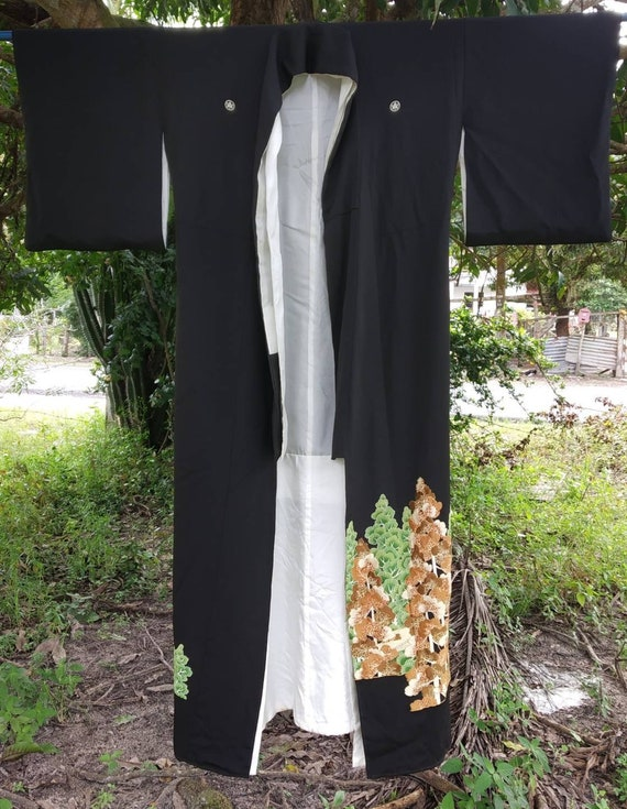 Vintage kimono Japanese embroidered,long kimono, … - image 3