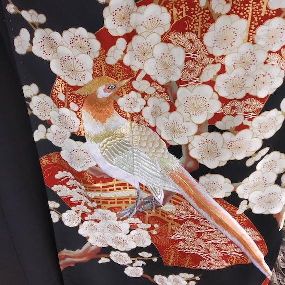Vintage kimono Japanese embroidered birds,long kim