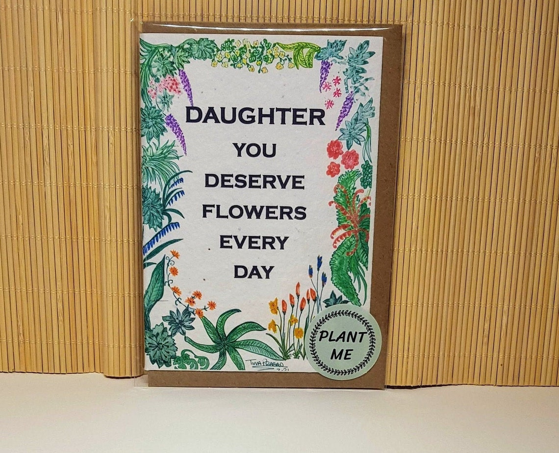 a6 blank plantable seed seeded cards 'daughter'  etsy