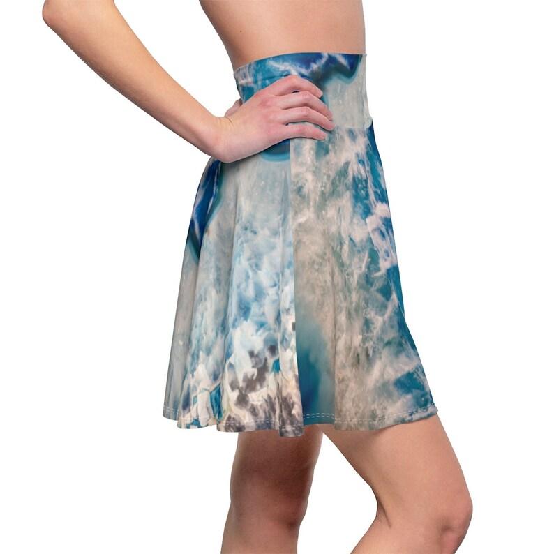 Blue Skater Skirt Blue Skirt Flowy Skirt Flowing Skirt Flared Skirt Flare Skirt Art Skirt Skater Skirt